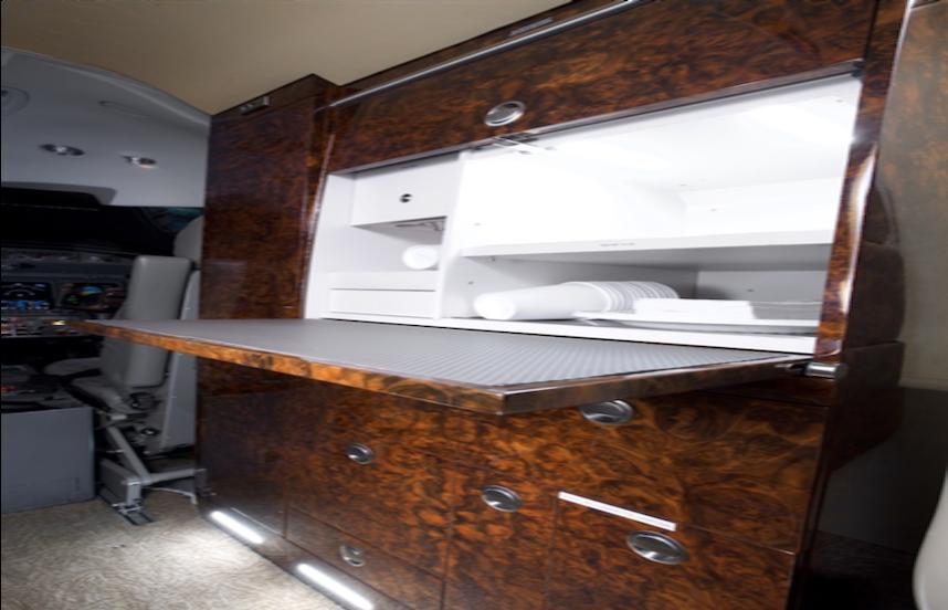2008 lear 45xr aircraft cabin storage